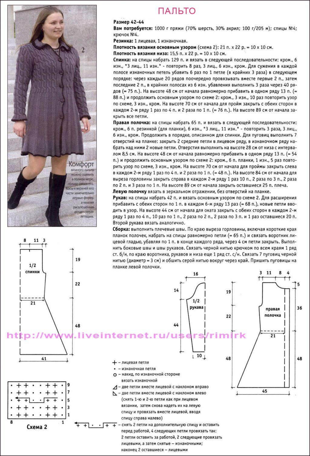 Вязание спицами женское пальто модели и схемы 94