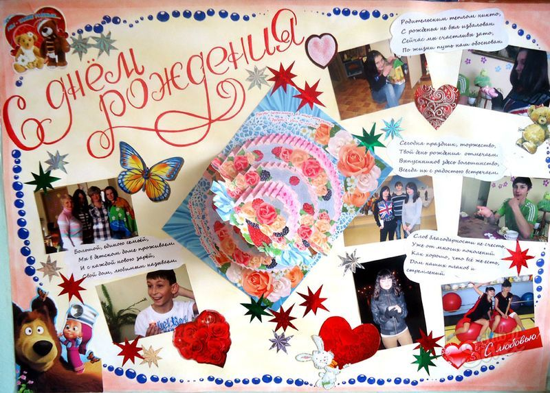 Плакат с днем рождения из фотографий для подруги
