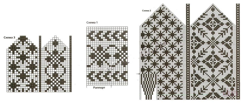Вязание варежек узоры 32