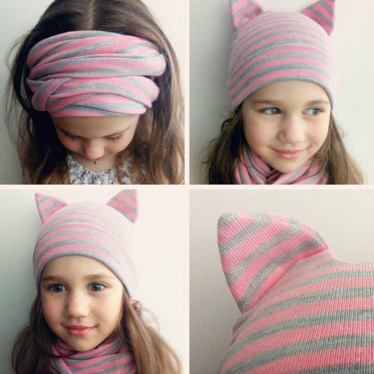 Как сшить трикотажную шапочку и снуд для девочки своими руками 67