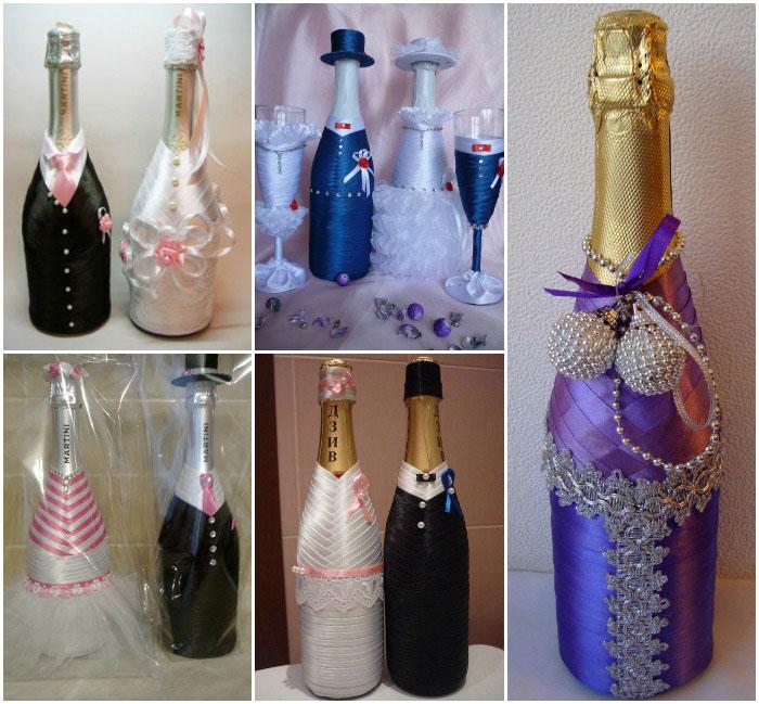 Как своими руками украсить свадебную бутылку 47