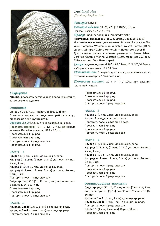 Вязание шапок мужских схем 309