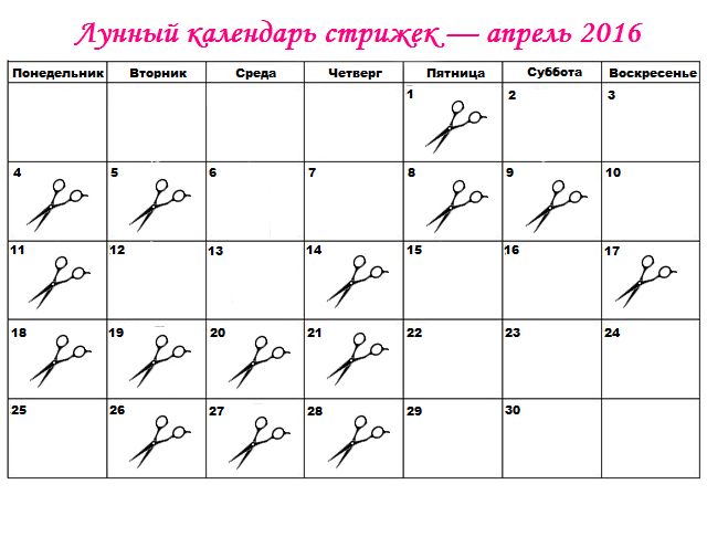 календарь стрижок на апрель 2016