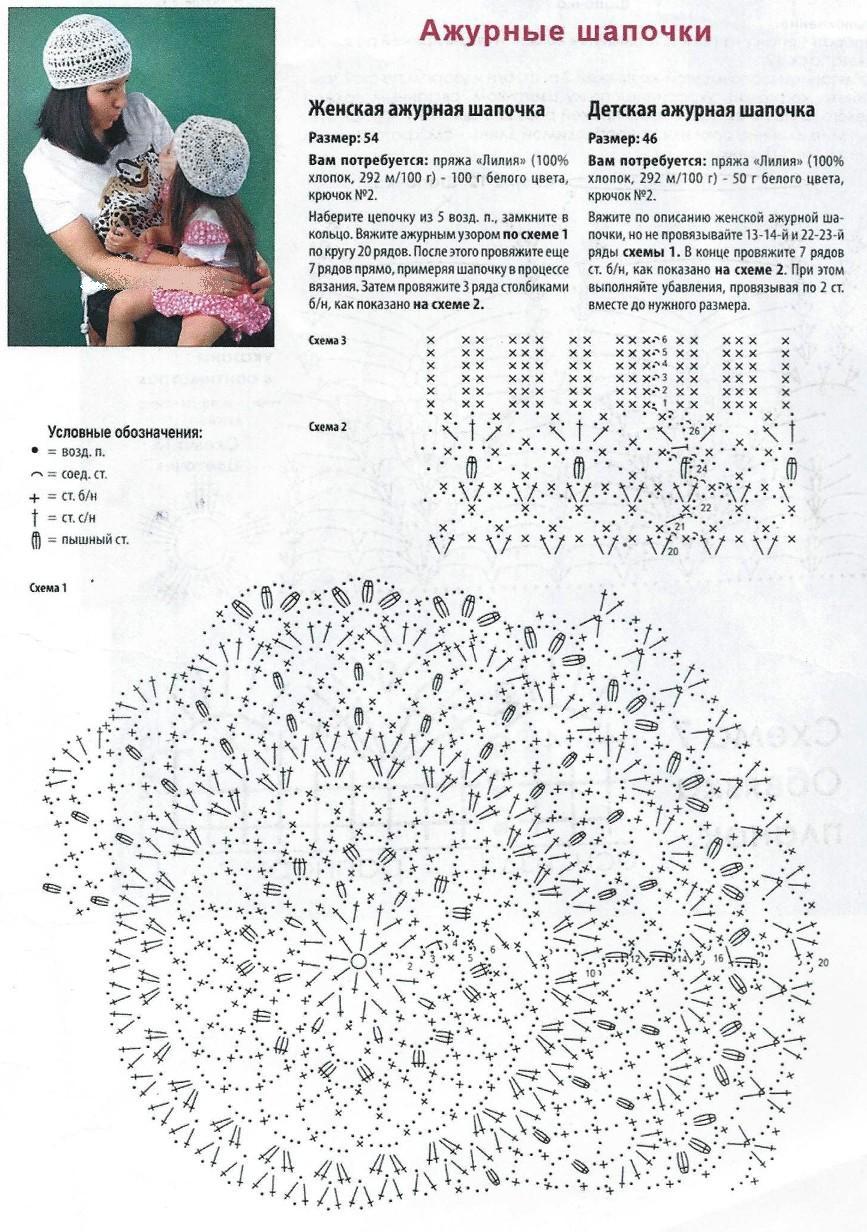 шапочки схемы для вязания крючком