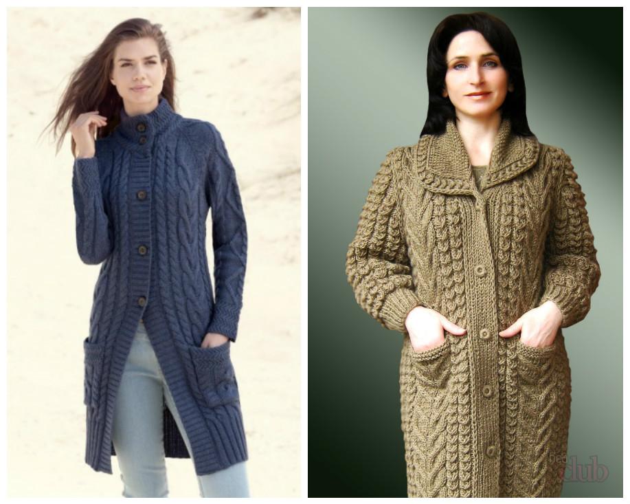 Вязание на спицами пальто для 821