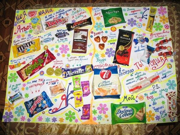 Плакат поздравление с конфетами 74