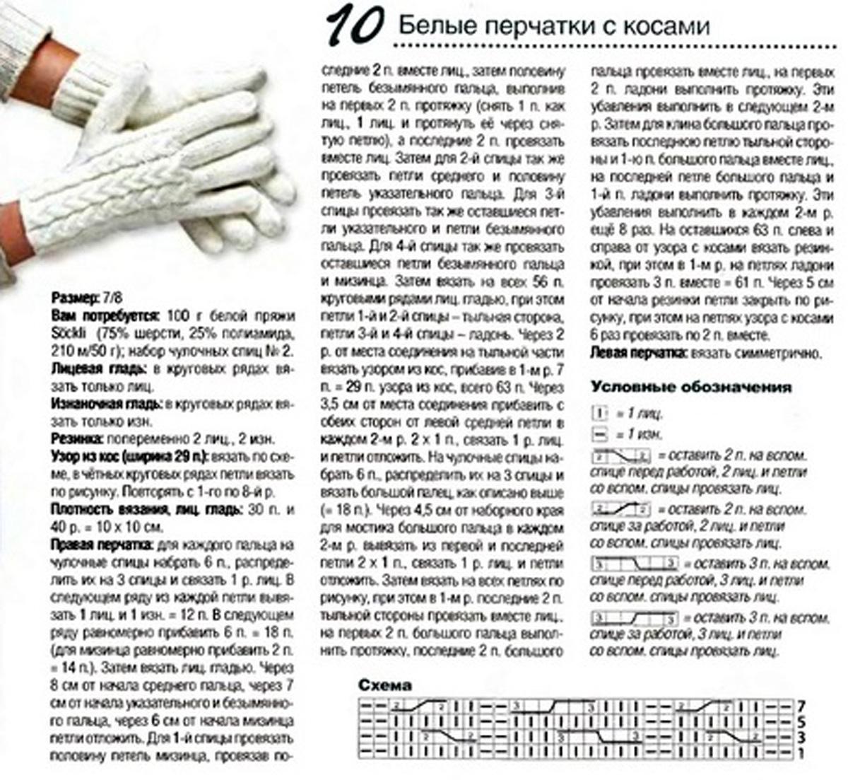 Схема вязания спицами детских перчаток 71